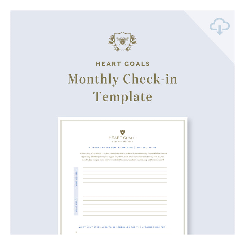 Printable || Monthly HEART Goals Check-In