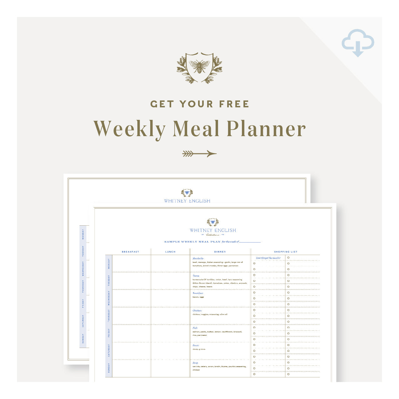 Printable || Weekly Meal Planner