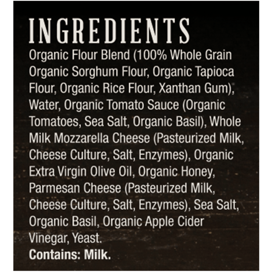 Ingredients list from the Etalia Margherita Pizza box