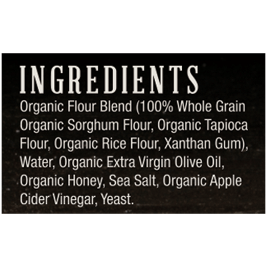 Ingredients list from Etalia Nudo pizza box