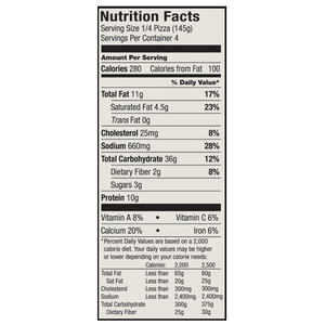 Nutrition Facts from the Etalia Margherita Pizza box