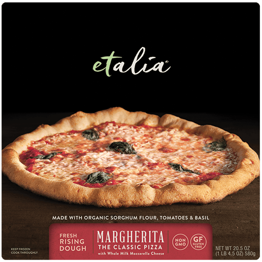 Front of the Etalia Margherita Pizza box
