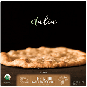 front of Etalia nudo pizza box on white background