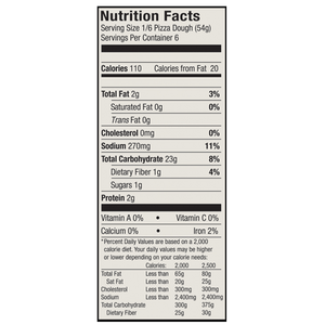 Nutrition facts from the Etalia Nudo pizza box