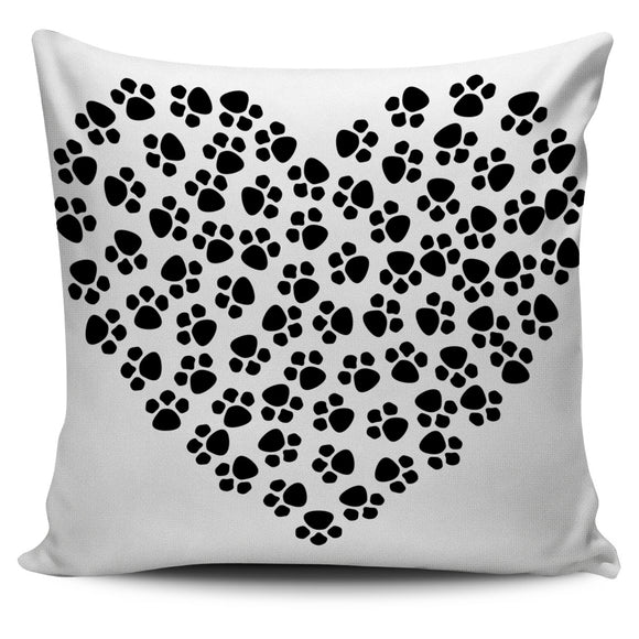 Dog Paws Heart Pillow Cover