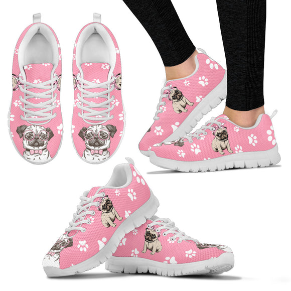 Stylish Pug Dog Women's Sneakers