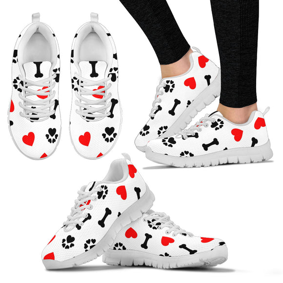 STYLISH LADIES DOG LOVER SNEAKERS WHITE
