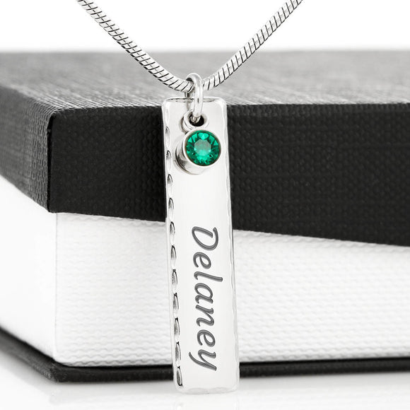 Elegant Birthstone with Engraved Name Necklace