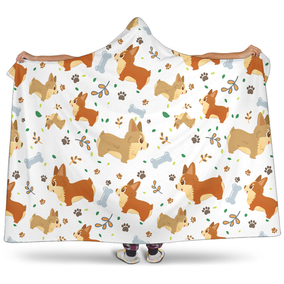 Cute Corgi Dogs Hooded Blanket