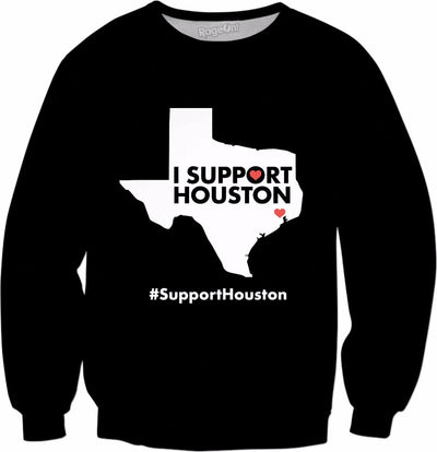 I Support Houston Black Crewneck Sweatshirt