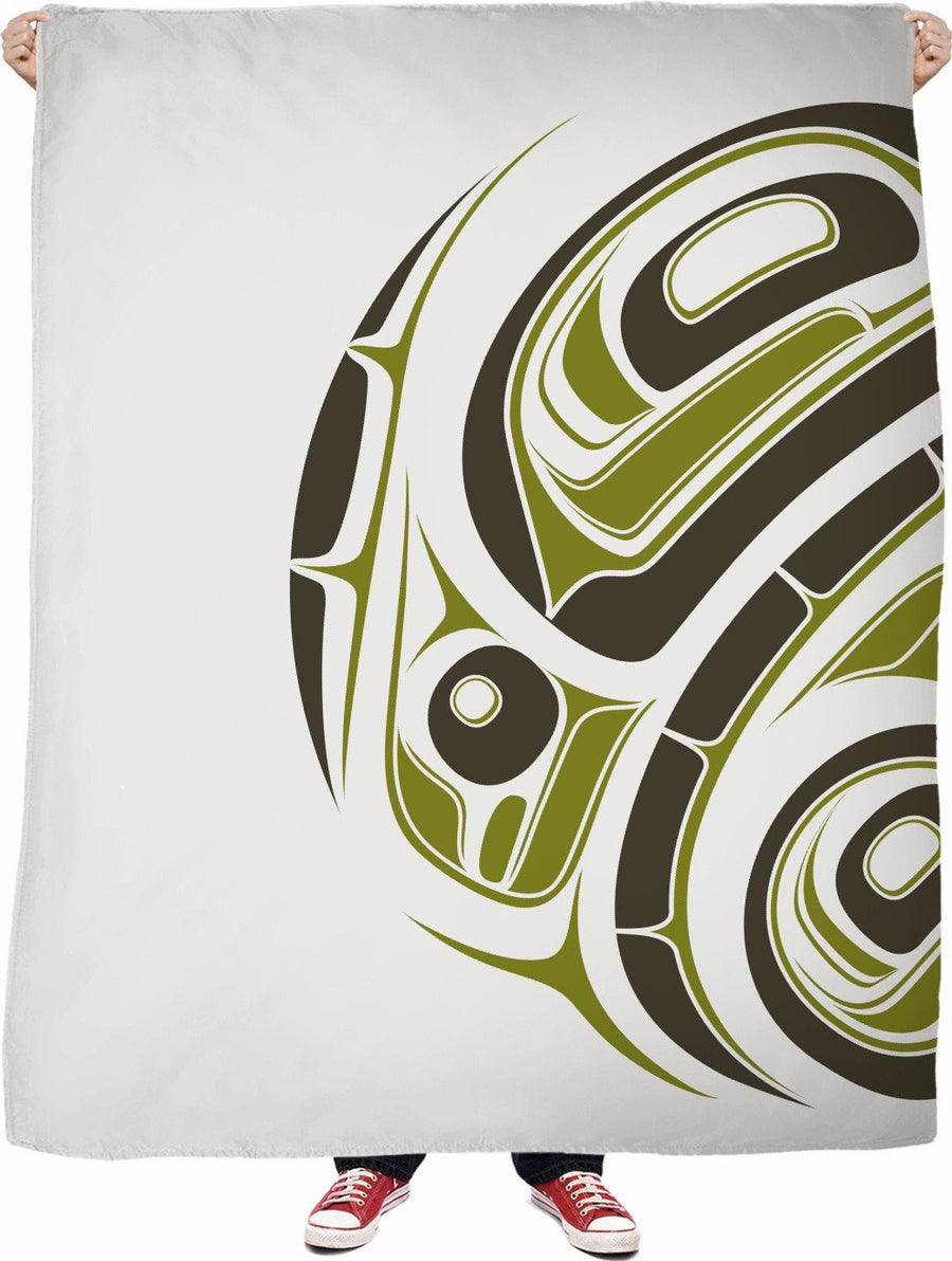 olive on ice white eagle drummer fleece blanket