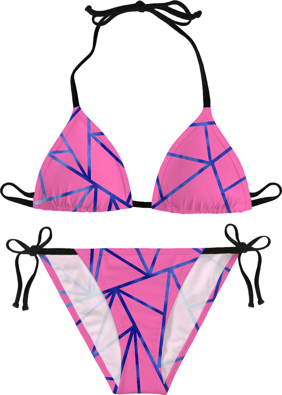 Pink With Blue Borders Bikini