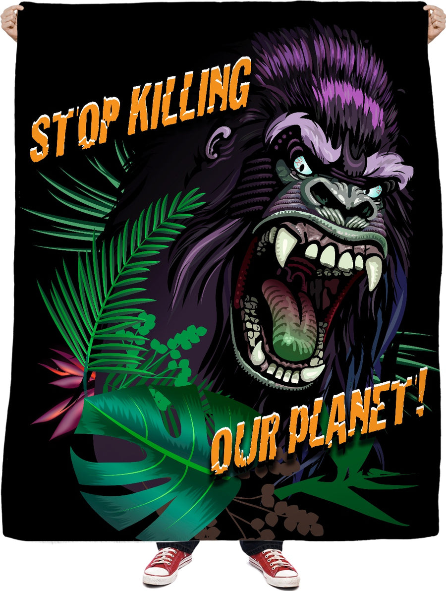 Stop Killing Our Planet Custom Fleece Blanket
