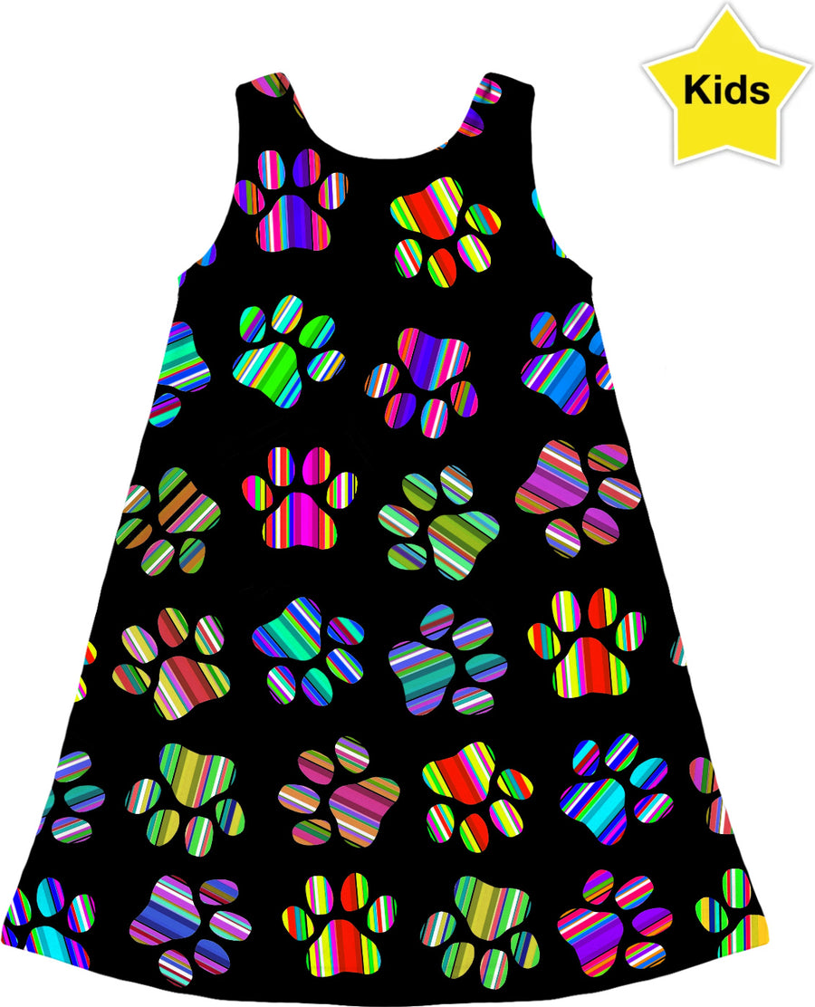 Striped Puppy Paw Prints Kids Dress