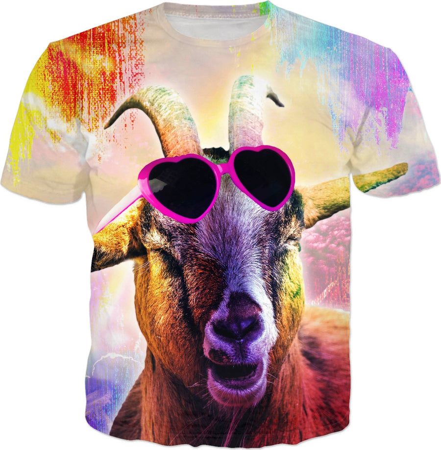 Rainbow Goat Wearing Love Heart Glasses