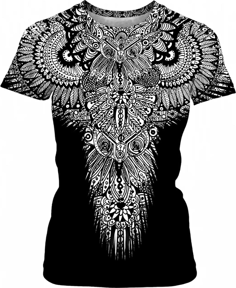 Women's Shirt - Inked Henna Inspired Owl Eyes