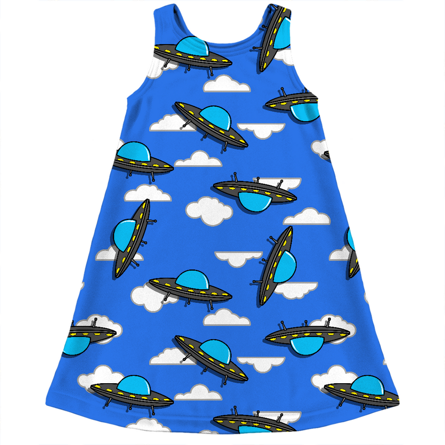 cute ufo sky kids dress