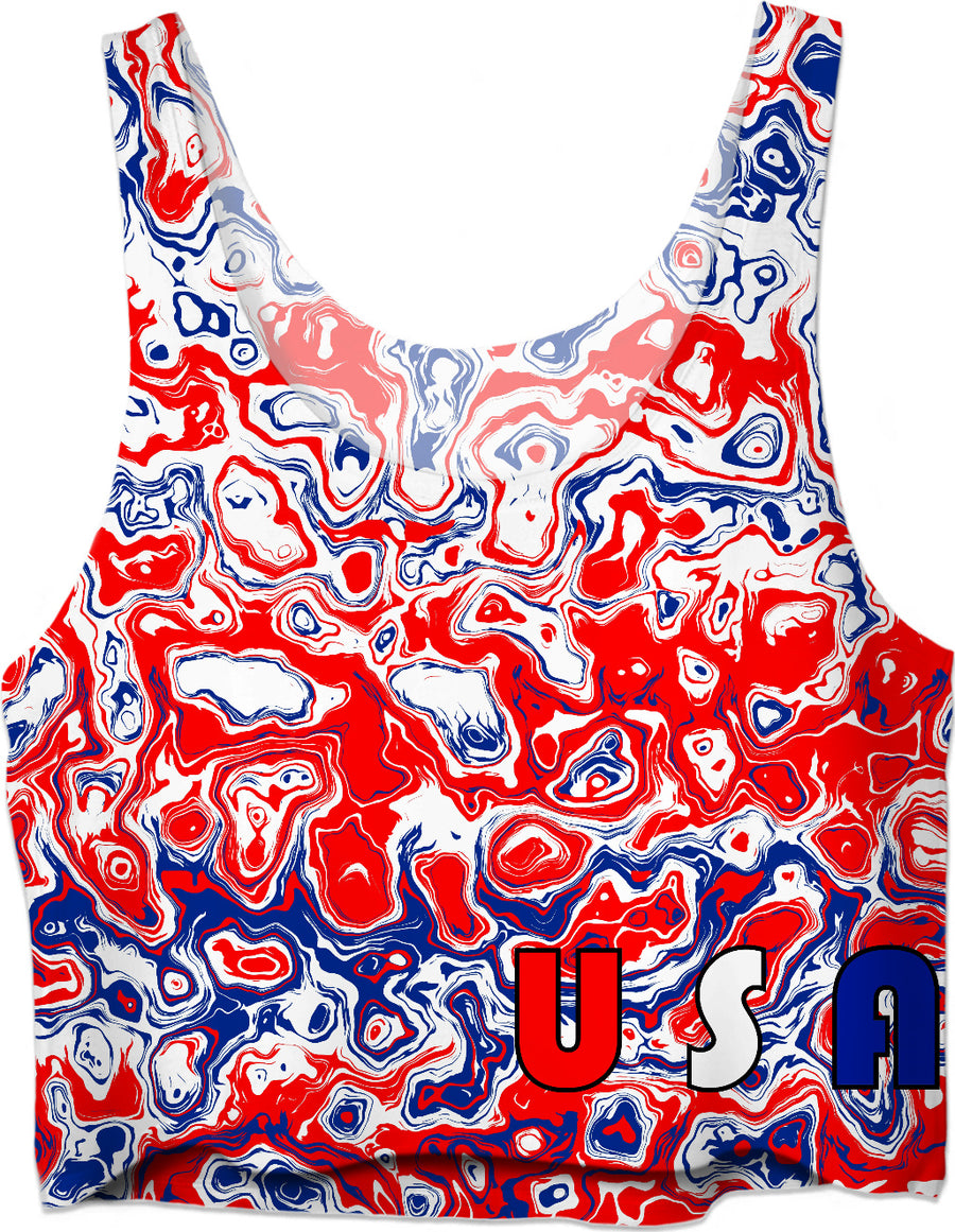USA Red White Blue Crop Top