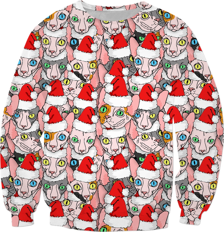 Christmas sphynx (naked cat) ugly christmas sweater
