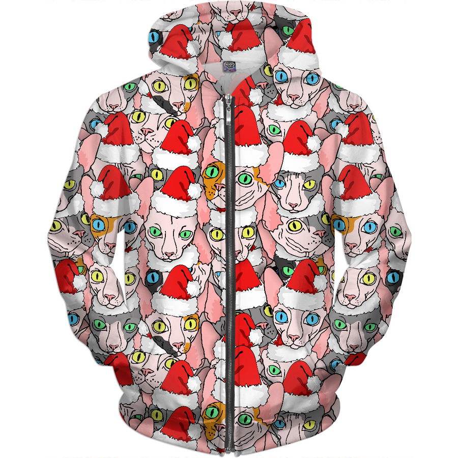 Christmas sphynx (naked cat) ugly christmas sweater kids hoodie