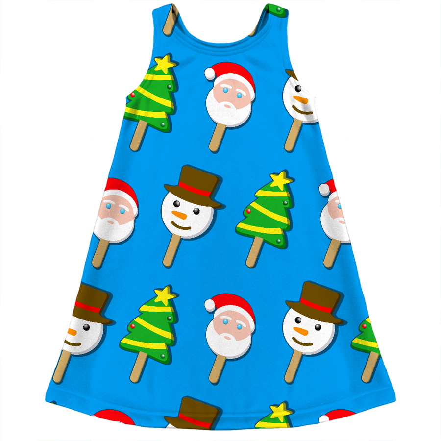 Christmas bubble gum eye ice cream ugly christmas sweater kids dress