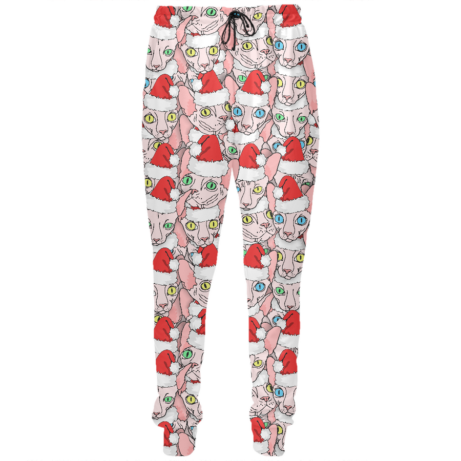 christmas sphynx ugly sweater design pants