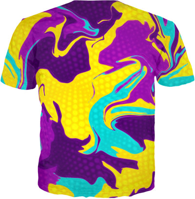 Yellow and Purple Psychedelic All Over Print T-Shirt