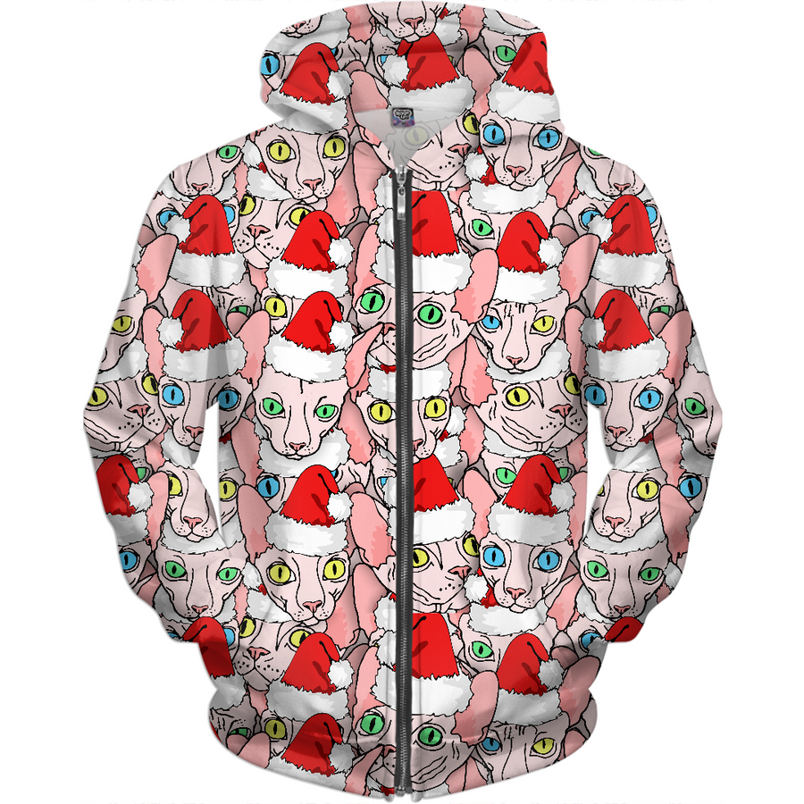 christmas sphynx ugly sweater design kids hoodie