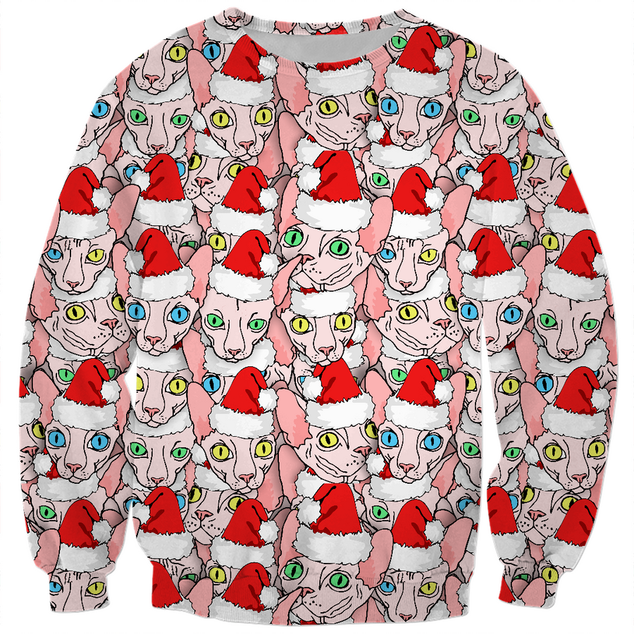 christmas sphynx ugly kids sweater design