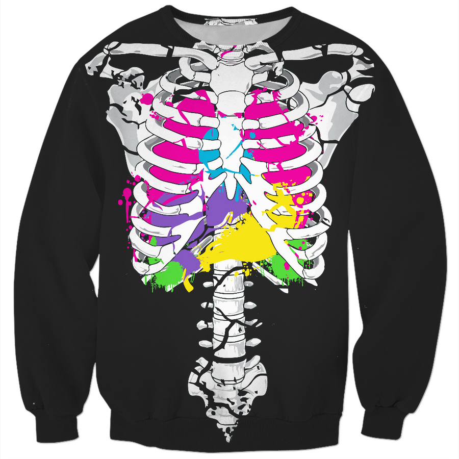 colorful guts skeleton sweater