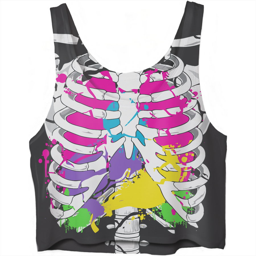 colorful guts skeleton crop top