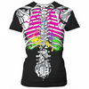 colorful guts skeleton ladies tee
