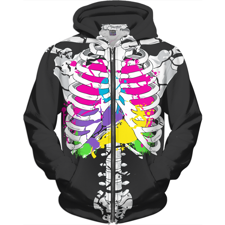 colorful guts skeleton kids hoodie