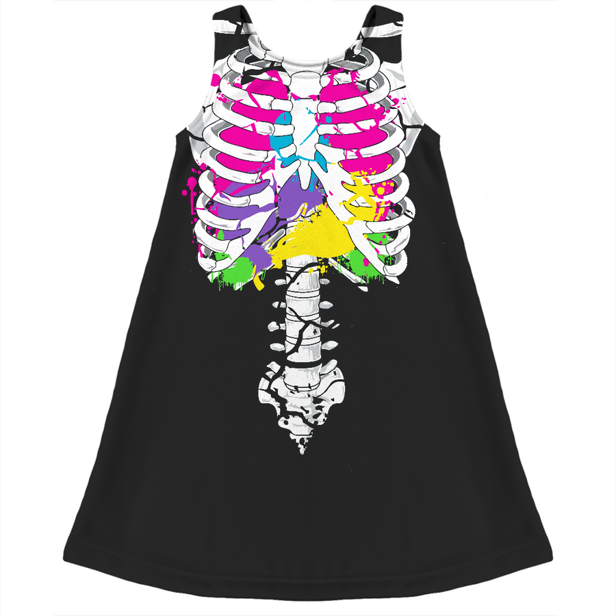 colorful guts skeleton kids dress