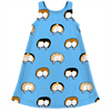corgi butt polka dot on blue kids dress