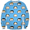 corgi butt polka dot on blue kids sweater
