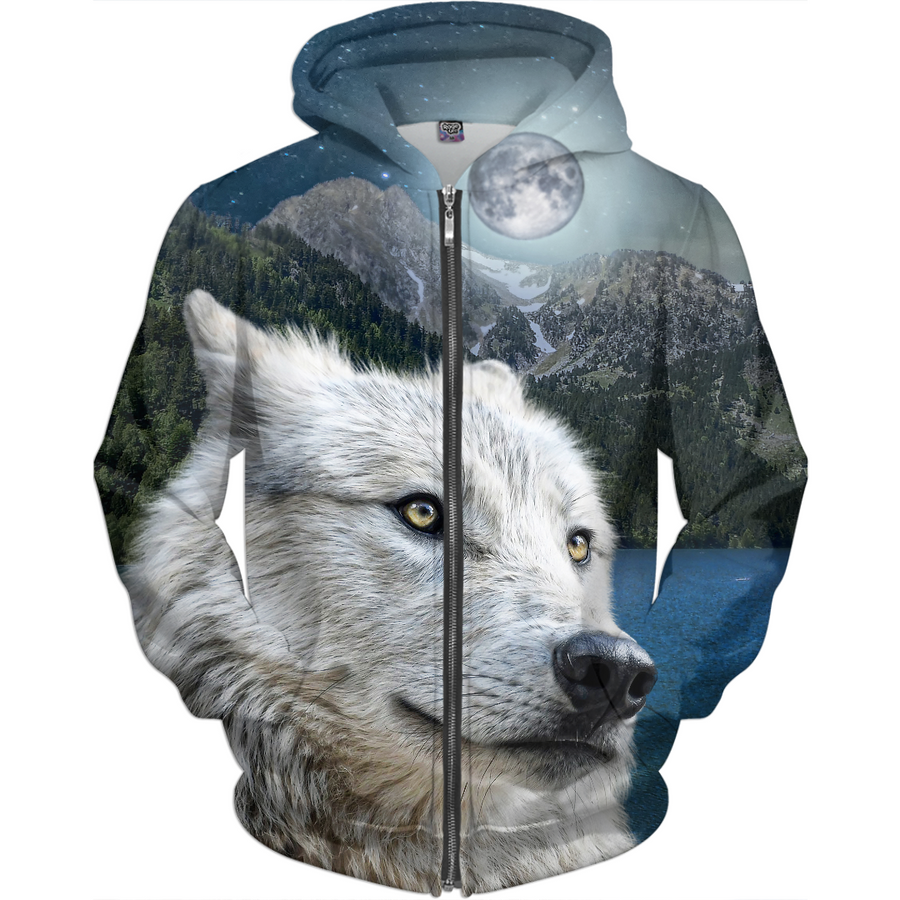 White Wolf  and Moonlight Hoodie