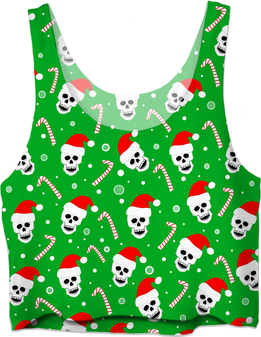 Skulls And Candy Canes Crop Top