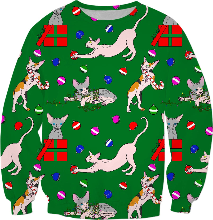 christmas sphynx (naked cat) ugly sweater