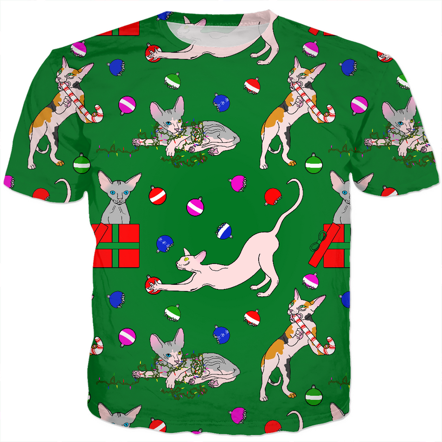 christmas sphynx (naked cat) ugly sweater kids tee
