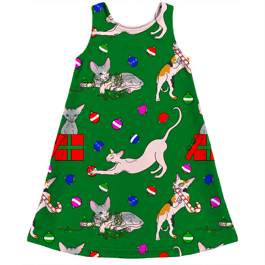 christmas sphynx (naked cat) ugly sweater kids dress