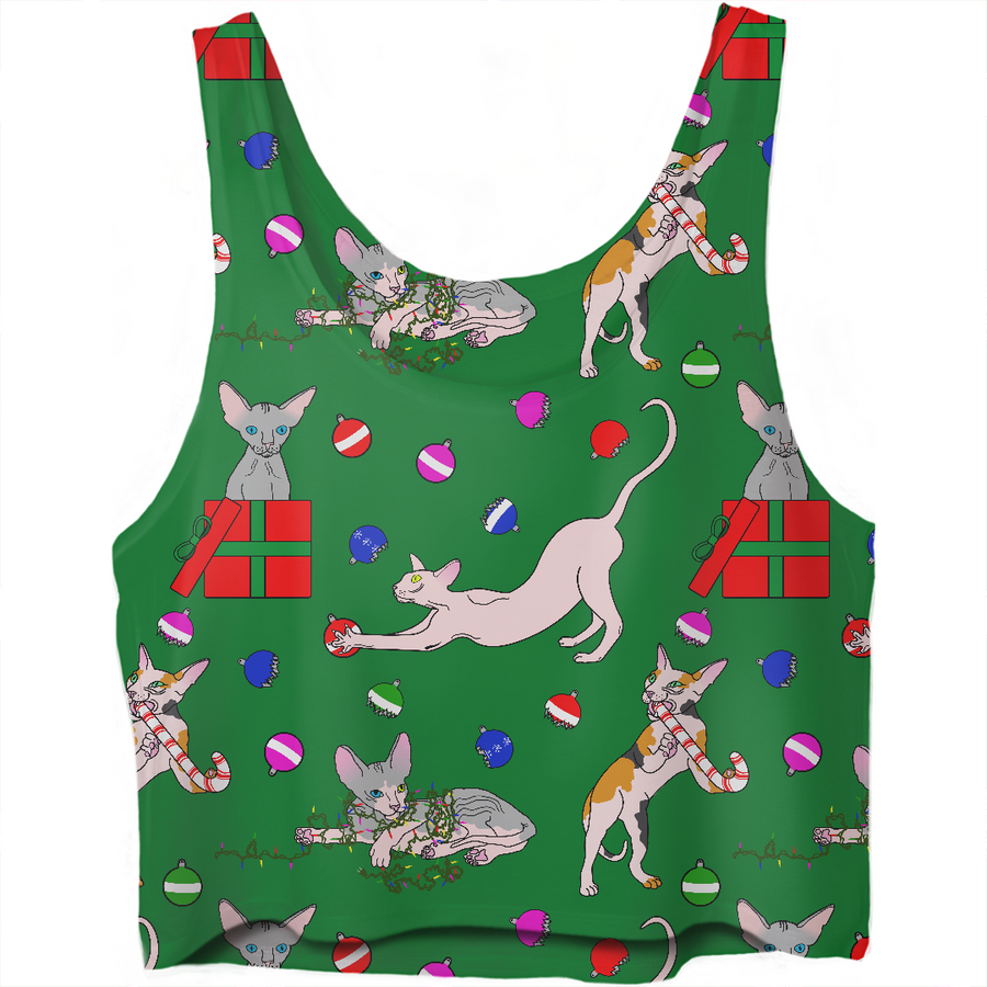 christmas sphynx (naked cat) ugly sweater crop top
