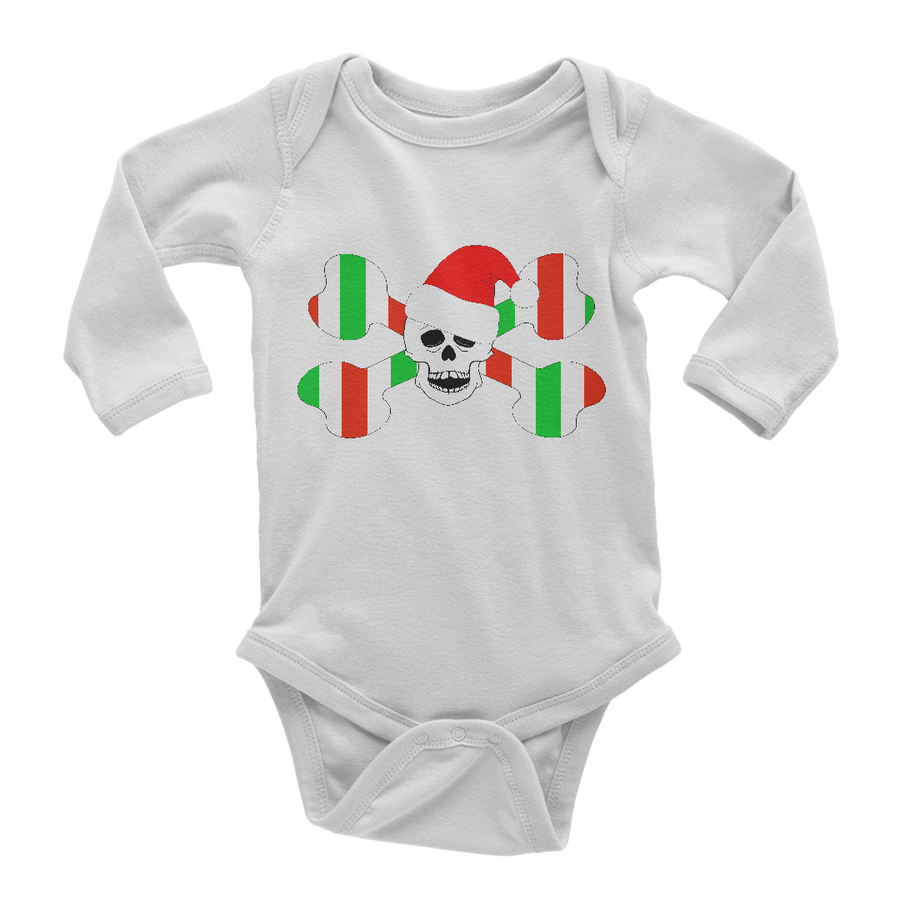 Christmas Skull And Bones Long Sleeve Baby One Piece
