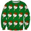 snowman icecream on green ugly Christmas sweater design