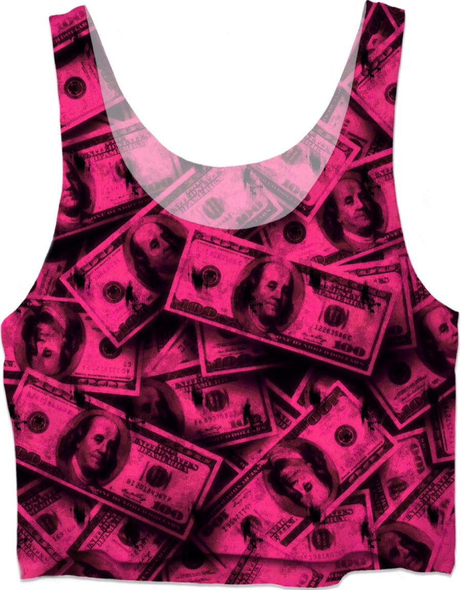 Pink Grunge Money Crop Top