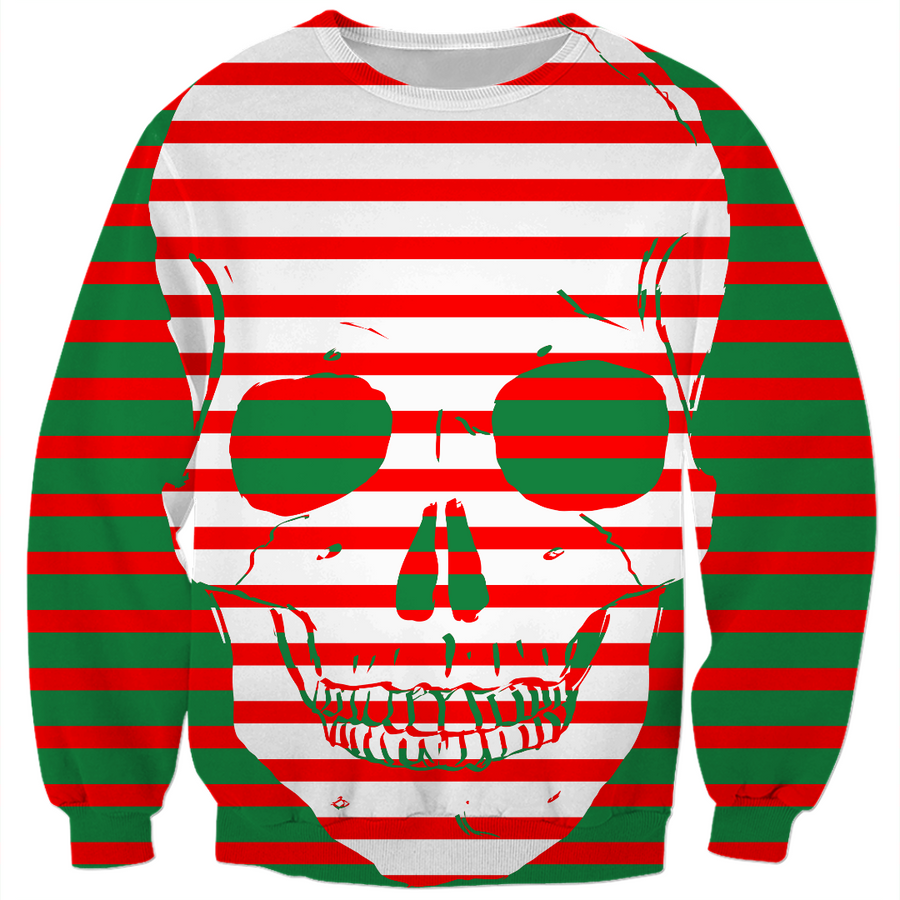 striped skull ugly Christmas sweater
