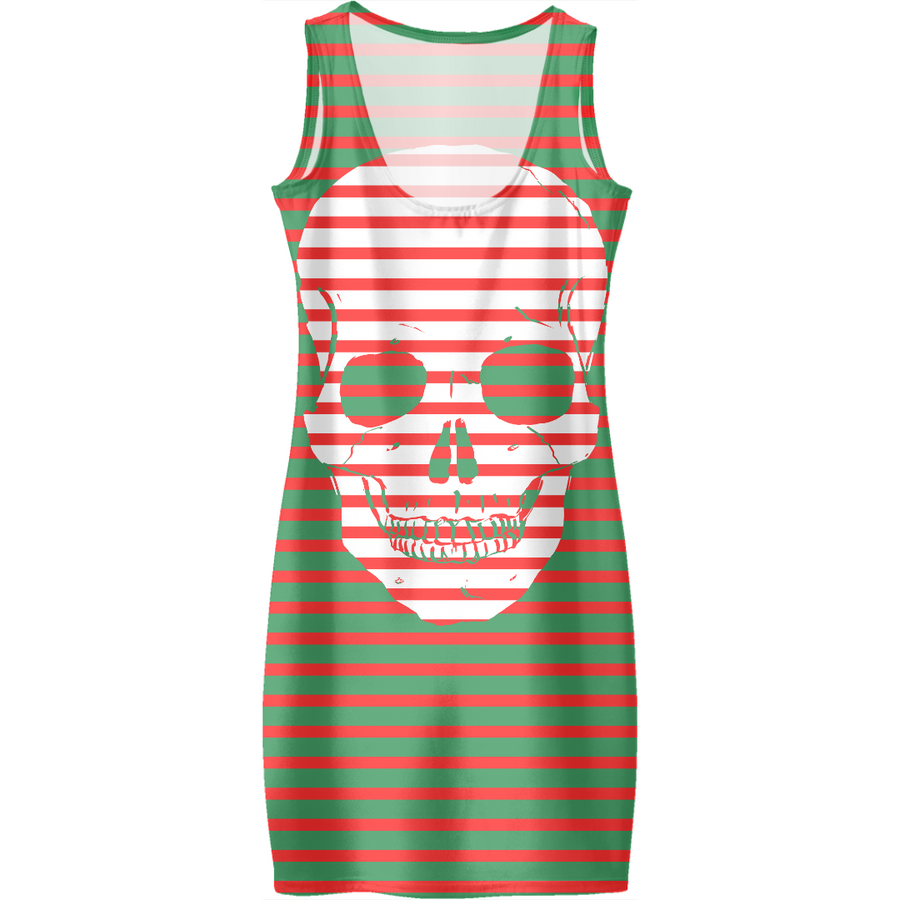 striped skull ugly Christmas dress