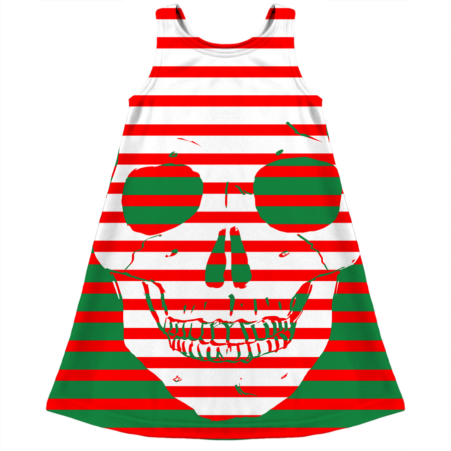striped skull kids ugly Christmas dress