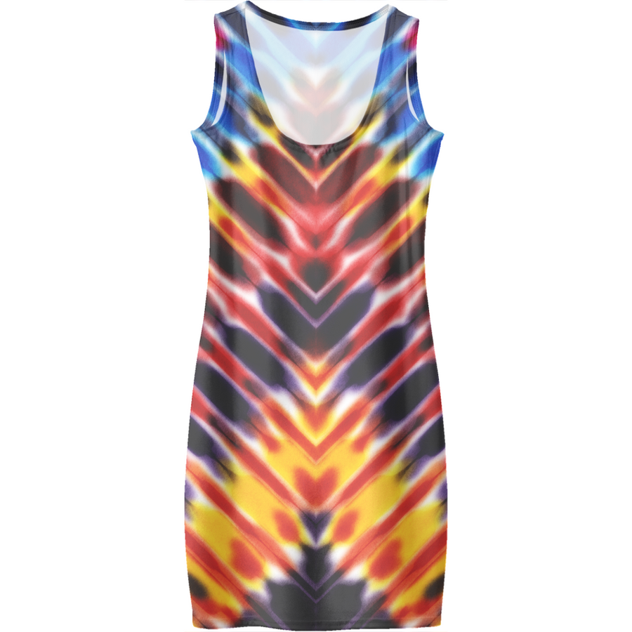 Modern Digital Hippie Rainbow Tie Dye Dresses