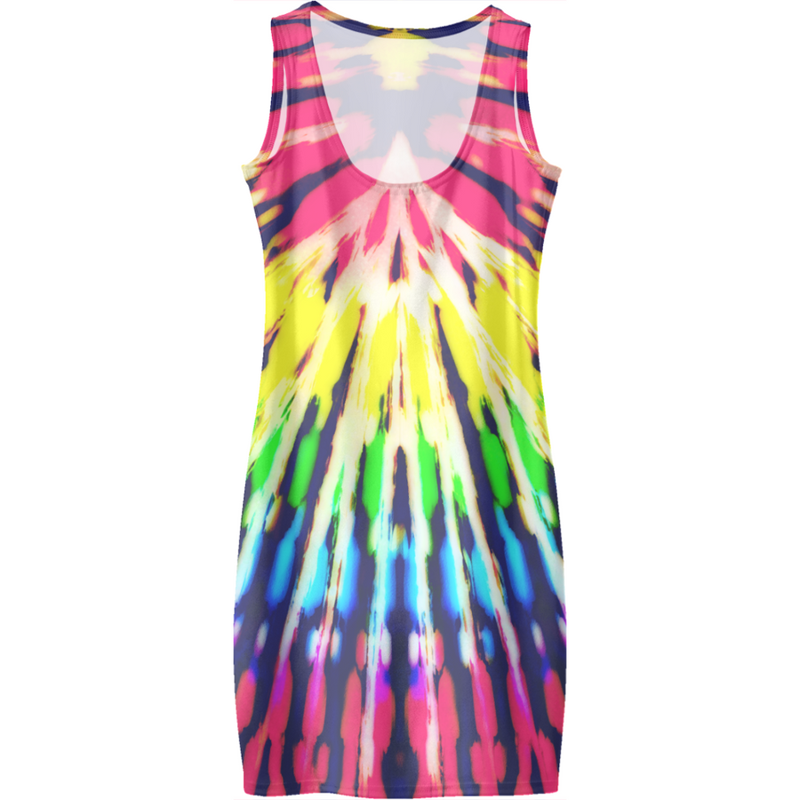 Modern Digital Hippie Rainbow Tie Dye Dresses V.2